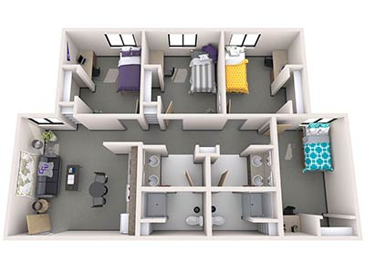 Agave Apartments 3BR Layout